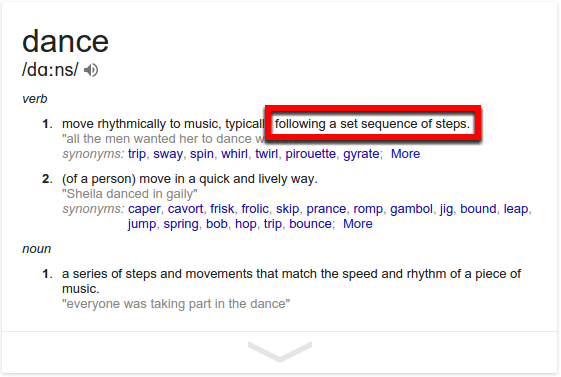 Dance as defined by a simple Google Search